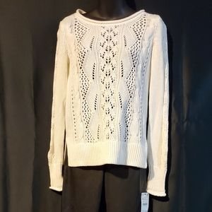🌊NWT GAP Cable Knit white cotton sweater